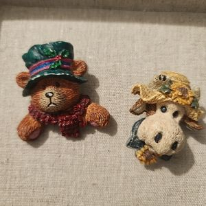 Jewelry - Vintage Christmas Teddy & Momma Moose Brooches